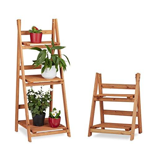 Relaxdays 2 TLG. Blumentreppen Set, Blumenständer für Innen, Mehrstöckig, Leiterregal, Pflanzentreppe, Pflanzenregal, Holz, braun
