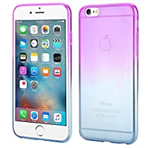 ISUDA Coque iPhone 6s, coque jolie iphone 6/6s élégante silicone transparent Soft Gel TPU pour iPhone 6/6s (Violet+Bleu)