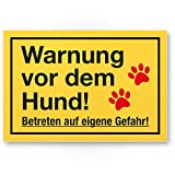 Warnung Hund - Betreten eigene Gefahr (gelb) - Hunde Kunststoff Schild, Hinweisschild Gartentor/Gartenzaun - Türschild Haustüre, Warnschild Abschreckung/Einbruchschutz - Achtung Hund