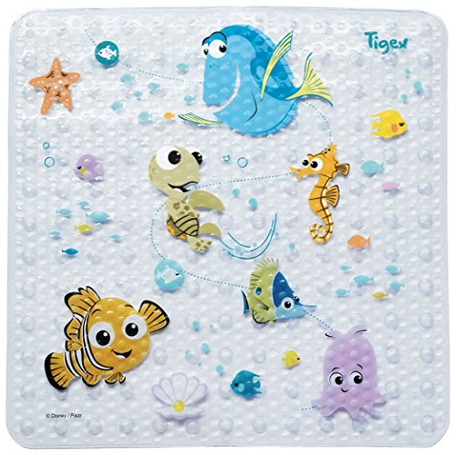 Tigex - Alfombra de Baño Con Base Antideslizante, Diseño con Dibujos de Nemo, Formato Universal 53x53cm...