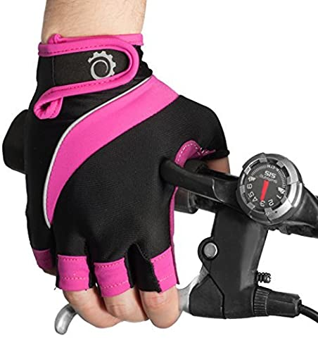 Cycle Gloves – Half Finger Light Pad Gloves For Riding Weightlifting Cycling And More – Women and Men Sporting Gloves (Pink Black,