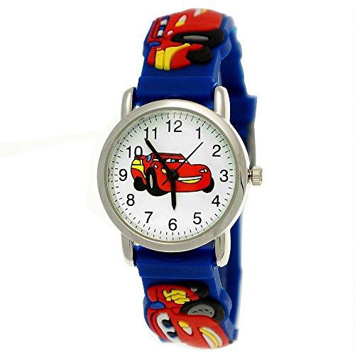Pure Time Autos Cars Kinderuhr Jungen Mädchen Auto Kinder Silikon Armband Blau Rot Sportuhr Lernuhr Uhr (Mädchen Kostüm Elf Holz)