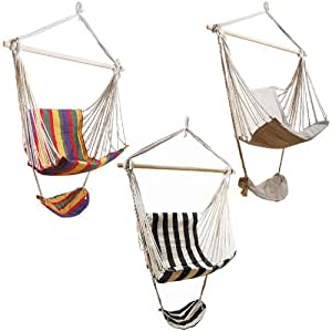 Chaise hamac avec repose-pieds fauteuil suspendu basculante Crème