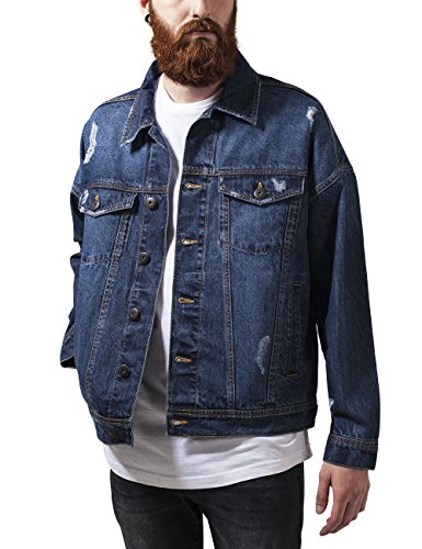 Urban Classics Ripped Denim Jacket, Blouson Homme Bleu - Blau (Blue Washed 799)
