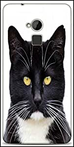 Snoogg Black Tuxedo Cat 144 Designer Protective Back Case Cover For HTC One-Max