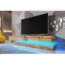 Aviator - Mesa Flotante Para TV / Mueble TV Colgante / Unidad de pared para TV (140 cm, Marrón Claro con iluminación LED Azul)