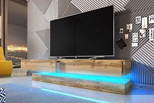 Aviator – TV-Board in Schwebeoptik / TV-Hängeschrank / Fernsehschrank (140 cm, Sonoma Eiche matt mit LED blau)