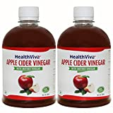 #8: HealthViva Apple Cider Vinegar Combo with Mother- Natural, Raw, Unfiltered, Unflavored- 500 mL (Pack of 2)