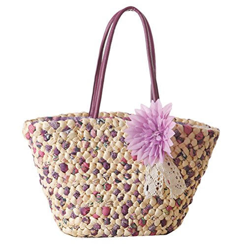 Zhhlaixing Casual Fashion Flower Straw Bag Vacation Woven Beach Bags Handbag Summer Beau sac spécial for Women purple