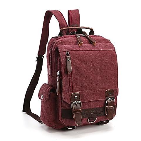 LOSMILE Rucksack Damen Herren Backpack Leinwand Daypack Umhängetasche Schultertasche Kuriertasche Laptop Tasche Messenger Bag für Arbeit und Schule. (Lila)