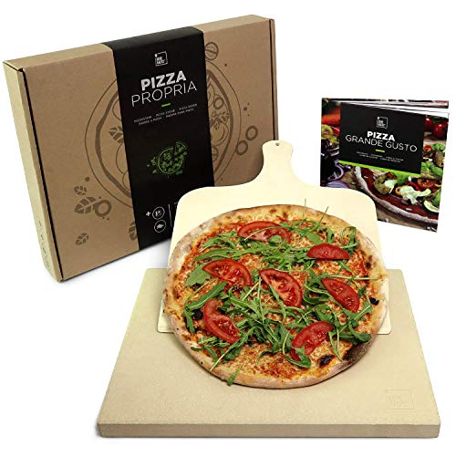 #benehacks® Pizza Propria Pizzastein 3cm für Backofen & Grill - Set zum Backen inkl. Pizza-Rezeptbuch & Pizzaschaufel & Geschenkverpackung