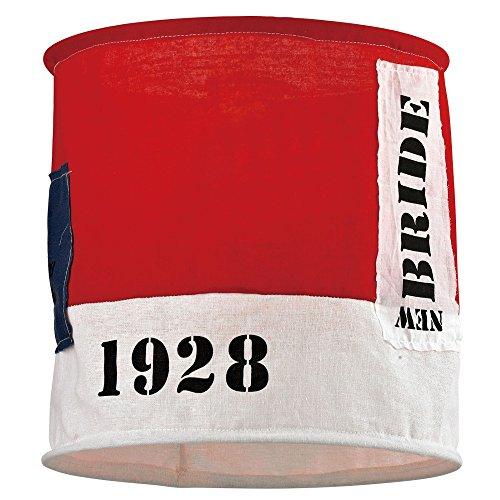 Hängelampe 1 flammig Hängeleuchte Pendelleuchte Kinderzimmer Lampe Stoff Schirm Shabby (Pendellampe, Deckenlampe, Kinderlampe, Deckenleuchte, Jugendzimmer Leuchte, Schlafzimmer Lampe, 28 x 26 cm, rot)