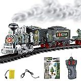 Tosbess Treno Elettrico Classico per Bambini, RC Locomotiva a vapore con luce e Fumo, Pista Macchinine Giocattoli
