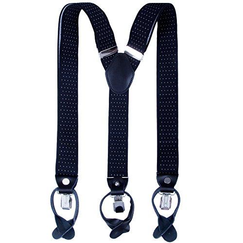 Herren Hosenträger mit Clips Knöpfe - Breite 35mm Y Form Längenverstellbar Hosenträger für Anzug Smoking (Schwarzer Tupfen) (Schwarzes Kleid 4-knopf-anzug)
