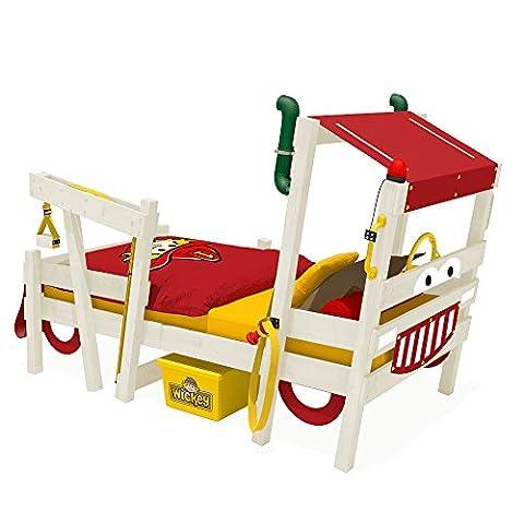 WICKEY Feuerwehrbett CrAzY Sparky Max Kinderbett 90x200 Spielbett mit Lattenboden und weißer Farbe zum selber