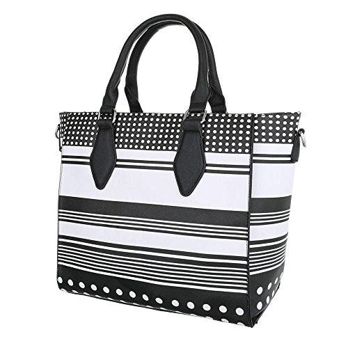 iTal-dEsiGn Damentasche Mittelgroße Shopper Schultertasche Tragetasche Kunstleder TA-A652-B Schwarz Weiß