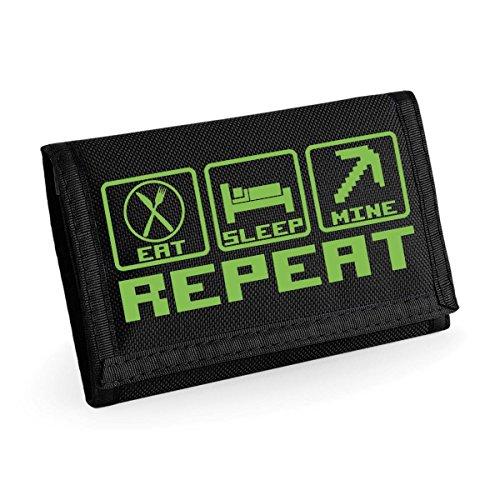 Kids Gaming Eat Sleep Mine Repeat Wallet - Black / Green