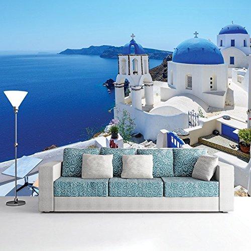 Preisvergleich Produktbild Weiß, Blau Meer Santorini Griechenland Tapete Reise-Foto-Tapete in 8 Größen erhältlich Riesig digital