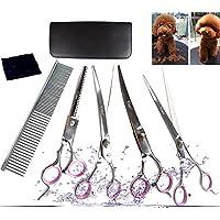 Yier Tijeras de perro Acero inoxidable Grooming Kit de tijera Cabello curvado Profesional Tijeras y peine de mascotas para adelgazamiento, 7.0 Inches