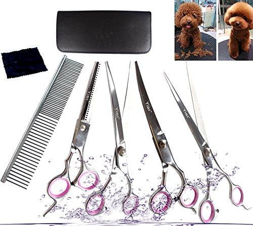 Yier cesoie per cani in acciaio inox grooming kit forbice capelli curvi professional forbici per animali e pettine per il diluizione, 7,0 inches