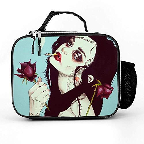 2cb8c76dc22a Lunch bag Litchi Leather Lunch Boxes Gothic Smoking Women Girl Rose Art  Lunch Box with Padded Liner High capacity Insulated Lunch Bag Durable  Thermal ...