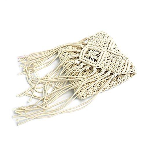 Warooms - Borsa a tracolla da donna in tessuto con frange e nappa, in cotone intrecciato, stile boho, Bianco