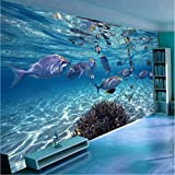 3D Wallpaper Cartoon Creativo Mundo Submarino Vida Marina Mural Niños Dormitorio Acuario Sala De Estar De Fondo De Pared De Papel Decoración Para El Hogar-350X250CM