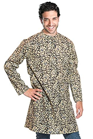 Maharadscha Hemd aus Indien, knielang, traditionell handbedruckt, unisex - 100%