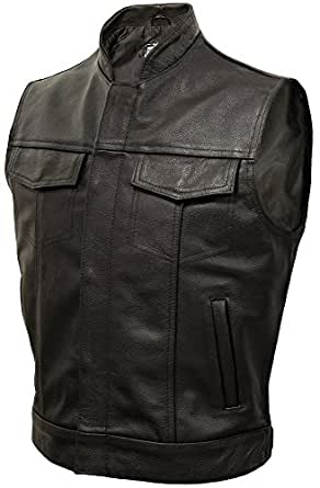 Mens Real Leather Cowhide Classic 'Cut-Off' Motorcycle Waistcoat in Black - Size M 40 Medium