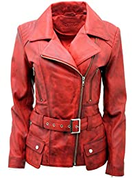 Ladies Red Long Feminine Leather Biker Jacket