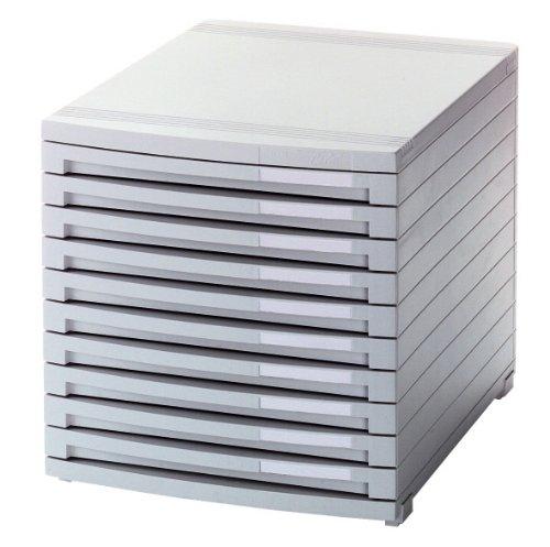 HAN 1510-11, Schubladenbox CONTUR, Modernes Organisationssystem, Ausbaubar, Premium Qualität für die Professionelle Organisation mit 10 geschlossenen Schubladen, lichtgrau