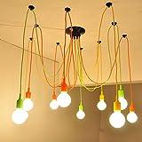 Kiven Rainbow tela de araña Creative lámpara de techo colgante multicolor estilo moderno araña lámpara de araña para Cafe