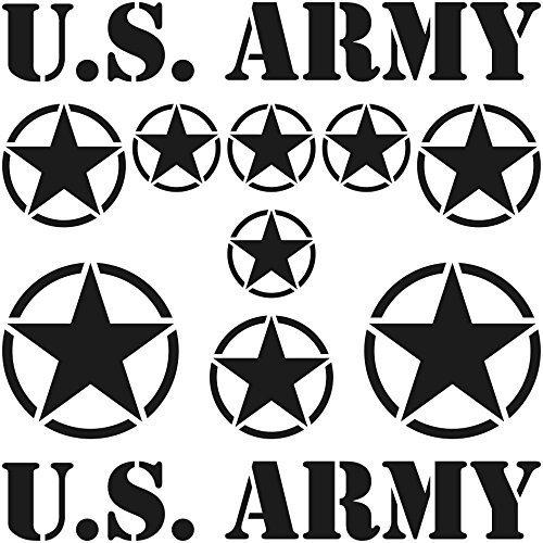 Set Sterne Schriftzug US Army MP Jeep Tuning Aufkleber Tattoo die cut car decal Auto Deko Folie (schwarz matt)