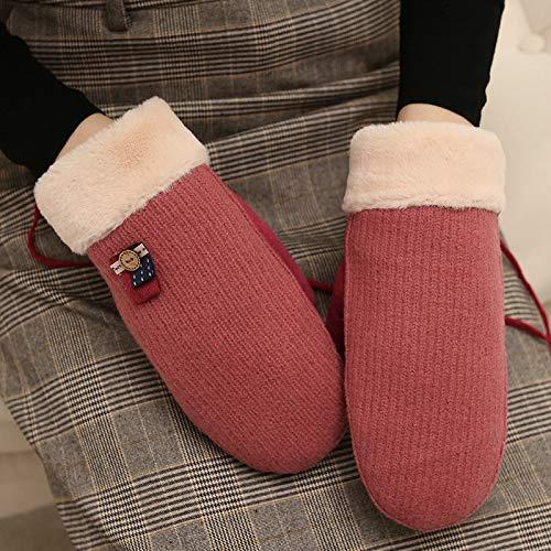 LybGloves Winter-niedlicher Finger des Handschuhs hängenden Halskarikatur-Studentenkaltes, Das warmes Starkes rosa, eine Größe, rot reitet