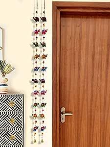 DreamKraft Paper Mache Elephant Full Door Hangings(1.6 M, 20 Elephant) - Set of 2, Multicolour