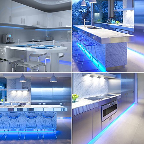 Cool Blue LED Kitchen Strip Light Set, Cabinet Plinth Warm