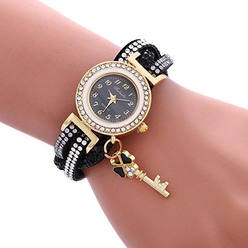 Armbanduhr Damen Uhr Xinnantime Wrap Around Mode Vorhängeschloss Diamant Armband Analoge Quarz Damenuhr Frauen Farbe 6 (Standard, Schwarz)