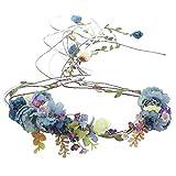 AWAYTR Boho Braut Blume Girlande Stirnband - Frauen Mädchen Einstellbare Baum Rattan Blatt Floral Haar Kranz Hochzeit Fotografie Dekoration (Blau)