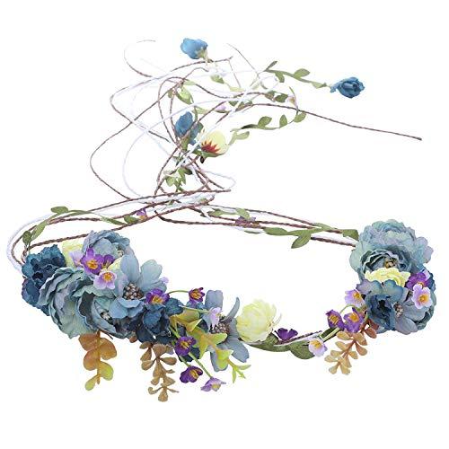 AWAYTR Boho Braut Blume Girlande Stirnband - Frauen Mädchen Einstellbare Baum Rattan Blatt Floral Haar Kranz Hochzeit Fotografie Dekoration (Blau) - Große Blume Stirnband