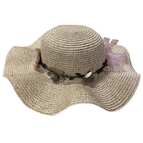 Produp Women große Brim Straw Hut Bunte Flower Beach Sun faltbar Cap würdevoll und großzügig Nizza und komfortable Hut