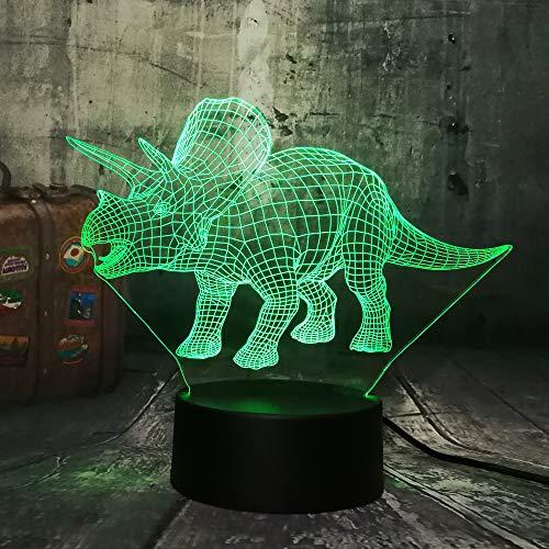 Orangeww 3d Illusion Lampe/Nachtlicht/Hauptdekoration Lampe/Baby Schlafzimmer Dekoration/Kinder Geschenk/Weihnachten Kinder/Triceratops
