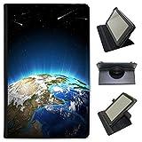 Fancy A Snuggle Space Exploration in Similpelle Dotata di Copertura, con Supporto Verticale per Kobo Tablet Nero Earth Planet in Sun Rays Kobo Aura One 7.8 inch