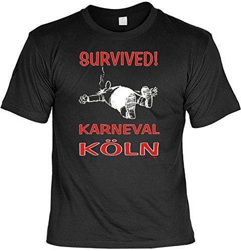 Fasching T-Shirt Survived ! Karneval Köln Fastnacht Shirt 4 Heroes geil bedruckt Geschenk Set mit Mini Flaschenshirt Schwarz