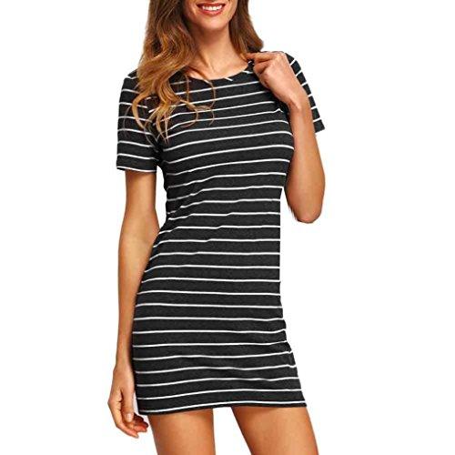 Elecenty Damen Hemdkleid T-Shirt Blusekleid T-Shirtkleid Sommerkleid Kleider Frauen Rundhals Kurzarm Mode Kleid Minikleid Kleidung (L, Schwarz 2)
