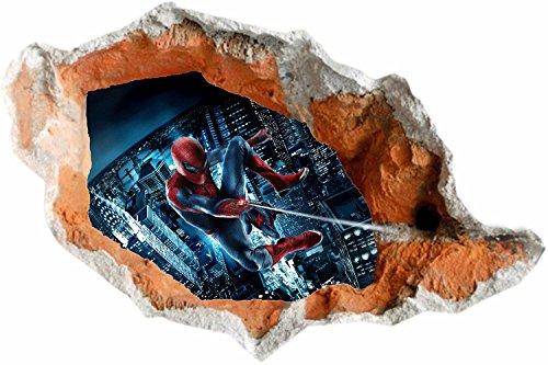 held Spiderman Flying In) - Gebrochene Wand / Loch in der Wand / Smashed Wall 3D Look - Wanddekor für Schlafzimmer / Wohnzimmer / Kinderzimmer - schälen und haftenk mach es selbst - Selbstklebendes Vinyl Abziehbild (Superheld Halloween Schablonen)