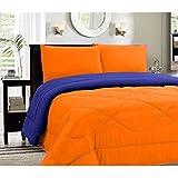 House Of Sensation Thick Microfiber Comforter With 300-GSM Filling Sleepins Comforter Reversible Dual Side AC Double Bed Comforter/Blanket/Quilt/Duvet For Winters & Summer- Blue & Orange