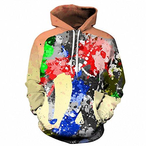 Moletom 3D Print Color Blocks Men Hoodies With Hat Thin Tops Harajuku Graphic Casual Sweatshirts Hoodies Plus Size XXL