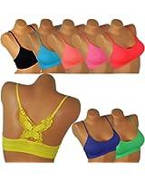 Damen Bandeau mit Spaghettiträger Mädchen erotisch Top Butterfly Schmetterling Rücken Erotik BH BRA Neonfarben bn11 GoGo Tanz