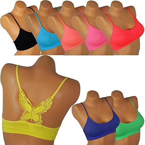 Damen Bandeau mit Spaghettiträger Mädchen erotisch Top Butterfly Schmetterling Rücken Erotik BH BRA Neonfarben bn11 (38/40, türkis)