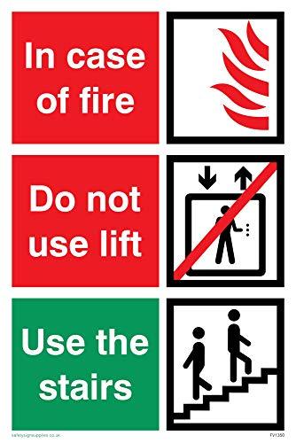 Nicht Verwenden, Lift (Viking Schilder fv1350-a4p-vin Case of Fire; nicht verwenden Lift, benutzen Sie die Treppen Zeichen, Vinyl, 300mm H x 200mm W)